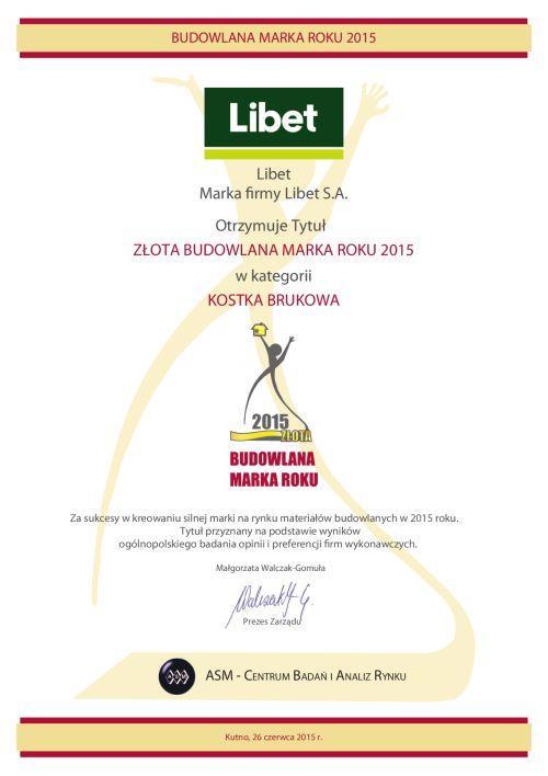 Libet z nagrodą Złota Budowlana Marka Roku 2015