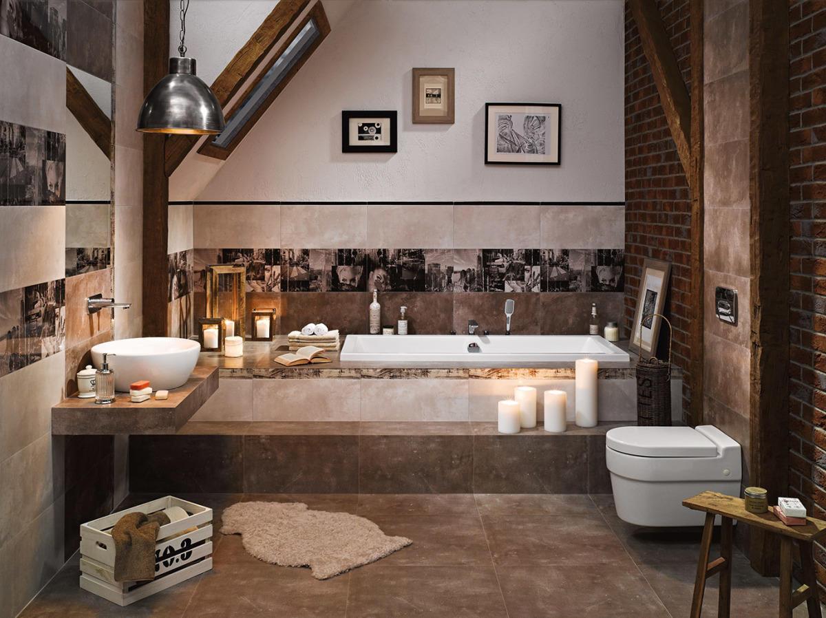 Płytki w kolorze mocha - łazienka na poddaszu